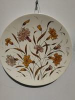 Falitál majolika, 30 cm. virágokkal gyönyörű dekoratív, nagy méretű