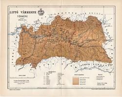 Liptó vármegye térkép 1897 (2), lexikon melléklet, Gönczy Pál, 23 x 30 cm, megye, Posner Károly