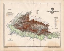 Pozsega vármegye térkép 1897 (5), lexikon melléklet, Gönczy Pál, 23 x 29 cm, megye, Posner Károly
