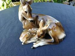 Keramos kerámia! Bambi pöttyös, őzmamával! Hihetetlen kedves szines nagy méretű jelzett darab!