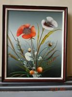 Ismeretlen festő - Csendélet, pipacs. Kép mérete 31 x 26 cm.