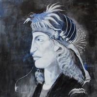 Szász Endre stílusban festett  - NAGY 45x45cm