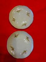 2 db lila barackvirág mintás Zsolnay porcelán kávés csésze alátét