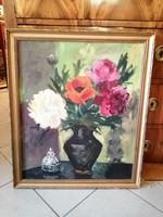 Papp T. festmény 1962 asztali csendélet virágcsokor