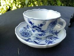 Kardos Meißen, Meissen, teás csésze aljával! Kék hagymaminta. Royal! Legszebb!