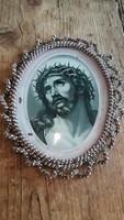 Antik ovális üveges Krisztus kép szentkép vallási kehytárgy búcsúi emlék