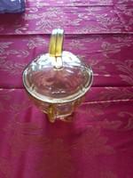 Sárga szìnű üveg cukor tartó