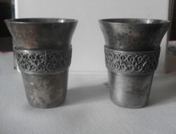 Régi, patinás orosz fém kupicák - 2 db