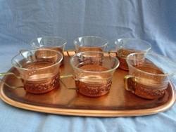 Hőálló teás, poharak ötvős réz  tartóban nem használt antik darabok hibátlan cca 2 dl saját réz tálc