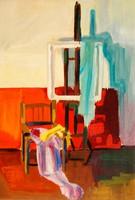 Műteremrészlet festőállvánnyal - festmény egyedi tölgyfakeretben