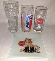 Coca cola és pepsi üveg pohár+ kistányér