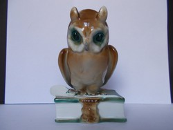 Gyönyörű hibátlan Zsolnay porcelán nagy méretű, könyvön ülő bagoly