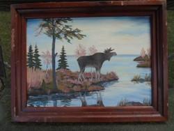 ANTIK nagyméretű olaj festmény  82 x 63 cm