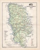 Torontál vármegye térkép 1897 (1), lexikon melléklet, Gönczy Pál, 23 x 29 cm, megye, Posner Károly