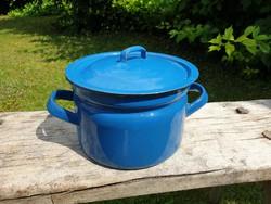 Zománcos régi vintage zománcozott kis kék fedeles lábas vas edény fazék