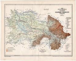Szatmár vármegye térkép 1897 (1), lexikon melléklet, Gönczy Pál, 23 x 29 cm, megye, Posner Károly