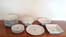 Régi Zsolnay porcelán étkészlet kék virágos barokk készlet 22 db
