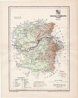 Ugocsa vármegye térkép 1897 (1), lexikon melléklet, Gönczy Pál, 23 x 29 cm, megye, Posner Károly