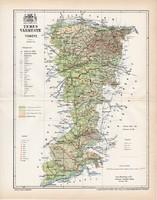 Temes vármegye térkép 1897 (4), lexikon melléklet, Gönczy Pál, 23 x 29 cm, megye, Posner Károly