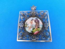 Ezüst  porcelán ikonnal 69 gr   1850 körűl