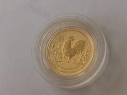 2017 kakas éve Ausztrál arany érme 1/20 uncia 0,999 -gyönyörű darab 1,56 gramm