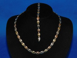 Sokszínű  Arany 14k nöi nyakék + karlánc  18.8 gr