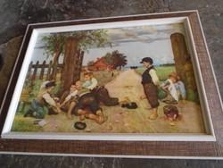 Gyönyörű antik festmény másolat Murello híres festmény  karton falemezre kasirozva  65 x 48