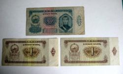 MONGÓLIA –1966 – 3 db-os Bankjegy lot –1 és 3 Tugrik