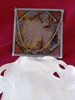 . 026 Mitológiai üveg kép ón keretben 14 cm