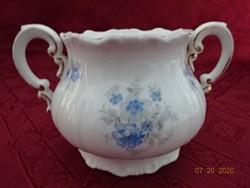 Zsolnay porcelán antik, pajzspecsétes cukortartó, búzavirág mintával.