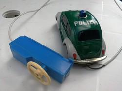 Vw bogárhátú, régi távirányítós autó lemezből. Vw Beetle Polizei, ritka darab. Autó, jelzett!