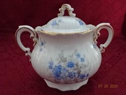 Zsolnay porcelán antik, pajzspecsétes cukortartó, kék virágmintával.