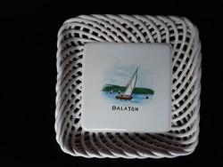 Régi bodrogkeresztúri fonott szélű Balaton feliratos tál