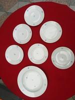 Herendi kék virágmintás, aranyozott szélű, 6 sütis és egy mély tányér. Kompótos készlet