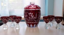 Antik bólés készlet csiszolt üveg