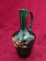 Olasz zöld üveg kancsó, kézi festéssel, magassága 17 cm. Számozása: 7.