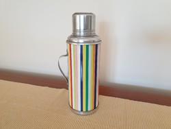 Retro termosz csíkos fém teás palack