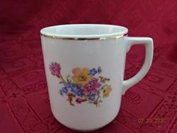 Drasche porcelán bögre, tavaszi virágmintával.