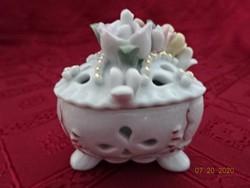 Keleti porcelán bonbonier. Szív alakú, három lábas, rózsa mintás.