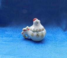 Orosz Kijevi porcelán aranyozott tyúkanyó alakú fűszertartó (po-2)