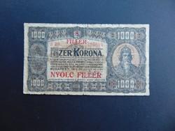 1000 korona 1923 B 89 8 fillér Felülbélyegzés !