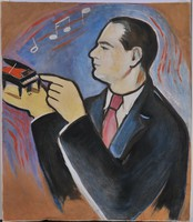 Ismeretlen festő: Art deco portré egy zongoristáról