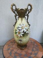 Szecessziós nagy méretű váza, virágokkal, jelzett!