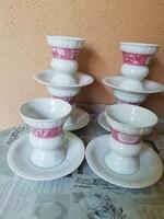 Német porcelán 6 személyes fagyis-desszertes kehely garnitúra