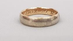 Antik Arany-ezüst préselt emlékgyűrű 1902-1927. XI.16.