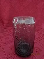 Coca Cola füst színű üvegpohár, magassága 12 cm.