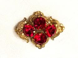 Retro arany színű bross piros kővel