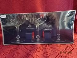 Francia kristály koktélos pohár, három darabos, bontatlan csomagolásban.