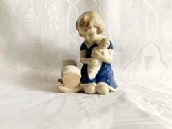 Jelzett porcelán kislány csecsemővel, Grafenthal ?