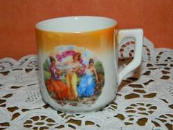 Antik Zsolnay barokk jelenetes kávés csésze